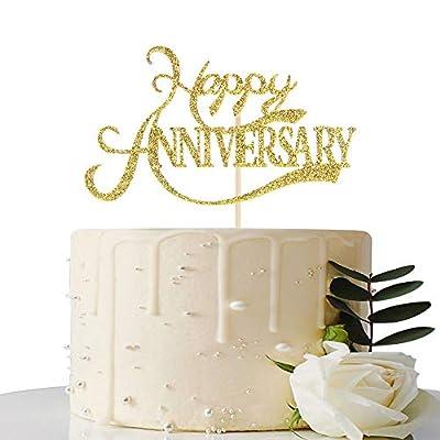 Gold Glitter Happy Anniversary Cake Topper - for Wedding Anniversary/Anniversary/Birthday Party Decorations