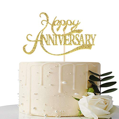 Gold Glitter Happy Anniversary Cake Topper - for Wedding Anniversary/Anniversary/Birthday Party Decorations