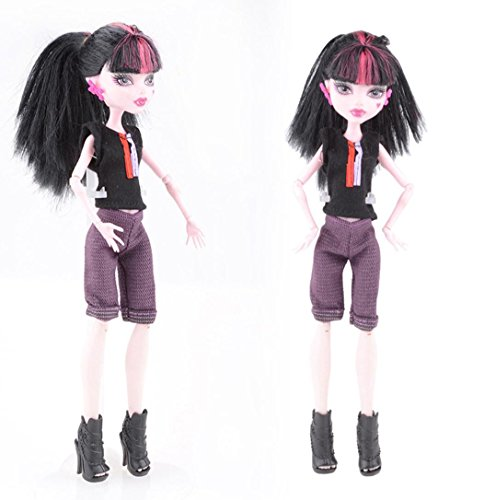 Barbie Doll Clothes, Fashion Handmade Short Sleeve Set Clothes Outfit For Monster High Doll -