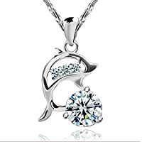 New Fashion Jewelry Womens 925 Sterling Silver Dolphins Crystal Necklace Pendant
