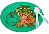 Baby Silicone Placemat, Non-Slip Feeding Suction Plate for Toddlers Babies Kids Fits Most Highchair Trays BPA-Free FDA Approved, Dishwasher and Microwave Safe with Spoon and Fork (Green)