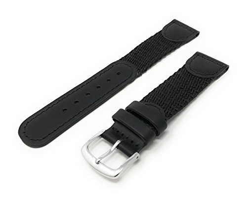 Men's Swiss Army Style Watchband - Color Black Size: 19mm Watch Band - by JP Leatherworks