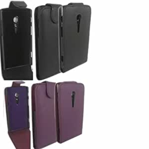 2 Pack Voltear Caso Cubrir Piel Para Sony Xperia Ion / Black And Purple