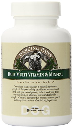 Dancing Paws Canine Multi Vitamin & Mineral, 30-Count Chewable Wafers (Pack of 4)