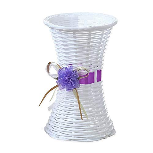 BOZLIZ - Flower Girl Basket - Artificial Plastic Rattan Flower Vase Roses Floral Storage Round Basket Home Garden Wedding Party - Combo Decor Crystals Vases Burlap Ball Lace Plastic Silver Pillow (Daddy Here Comes Mommy Flower Girl Basket)