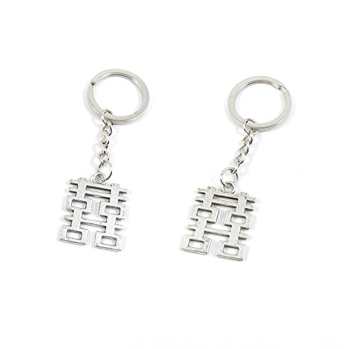 200 PCS Antique Silver Tone Keychain Keyring Door Car Key Chains Rings Tags C8IP4 Double Happiness ()