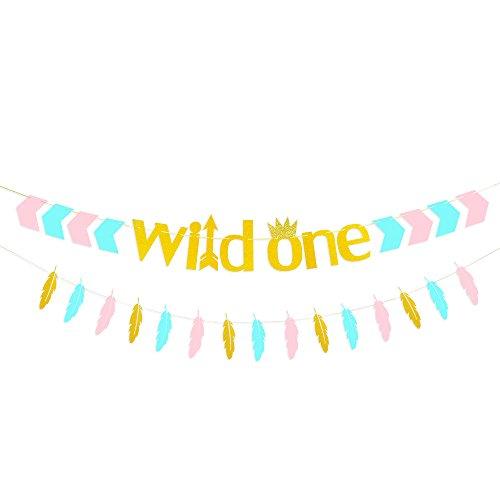 TMYSP Wild One pink blue gold Letter Bunting garland Kids First Birthday Celebration Baby Boy Girl 1st Birthday Party Decoration Supplies arrow crown feather garland Photo Props