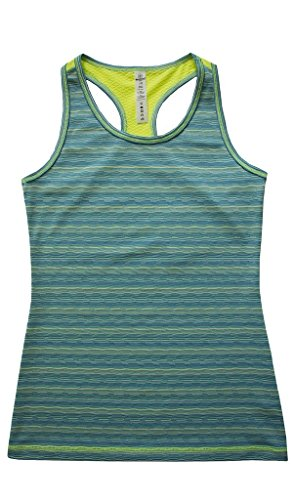 90 Degree by Reflex Kids - Girls Textured Zig Zag Tank Tops - Junior Activewear - Jade Combo Small (7/8)