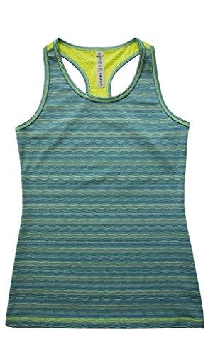 90 Degree by Reflex Kids - Girls Textured Zig Zag Tank Tops - Junior Activewear - Jade Combo Small (7/8)