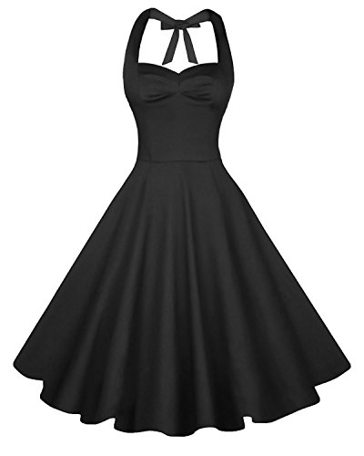 [Anni Coco Women's Halter Polka Dots 1950s Vintage Swing Tea Dress - Small - 2nd - Black] (1950 Dress)