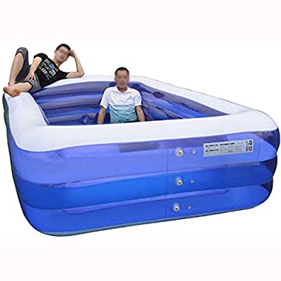 Rindasr Square Inflatable Swimming Pool, 3 Layers Thickened PVC Plastic, Family Swimming Pool Outdoor Summer Children's Water Park Paddling Pool (Size : 210x145x65cm): Home & Kitchen