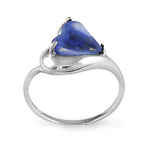 BillyTheTree Gemstone Jewelry Sterling Silver Ring with Heart Shape Lapis Lazuli Stone BTS-NRB6639 LP R