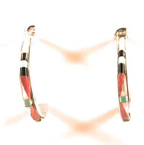 Zuni Sterling Silver Multi Stone Inlay Hoops from Nizhoni Traders LLC