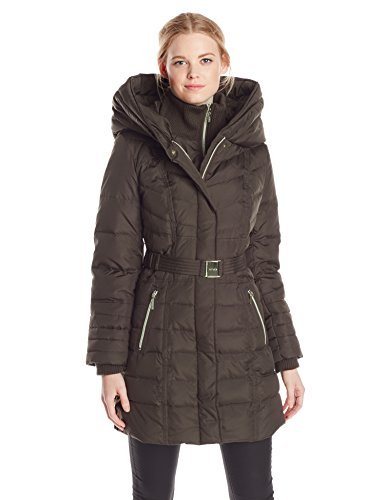 Kensie Women's Long Down Coat with Hood, Military, Large