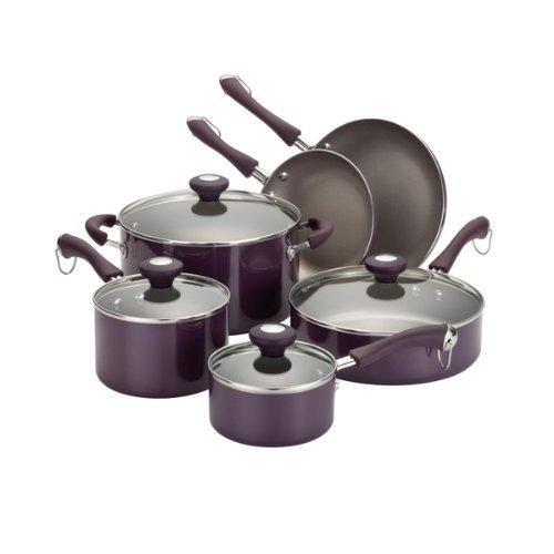 Paula Deen Traditional Porcelain 10-Piece Cookware Set, Purple image