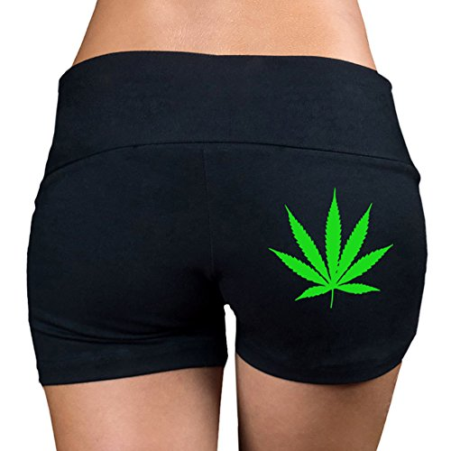 Women's Tiny Weed Leaf (Back) V360 Black Yoga Workout Booty Shorts Large Black