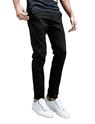 Match Mens Slim-Tapered Flat-Front Casual Pants (34, 8105 Black) ()