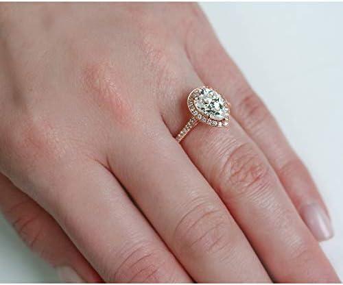 Kobelli Pear Shape Moissanite Halo Engagement Ring 2 1/2 CTW 14k Rose Gold