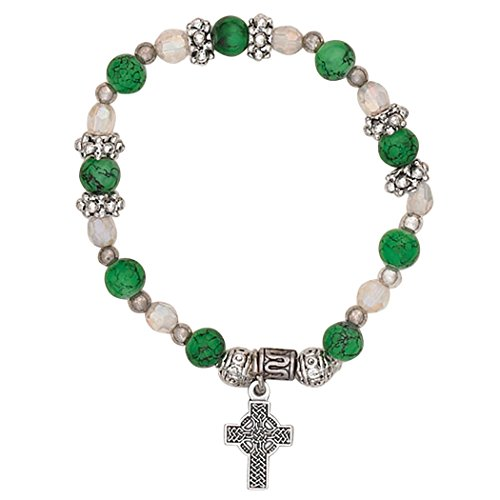 Rosemarie Collections Women's Irish Beaded Stretch Bracelet with Charm (Celtic Cross)