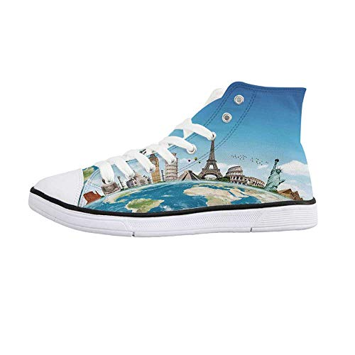 Travel Comfortable High Top Canvas Shoes,Famous Monuments of Pisa Taj Mahal Giza Pyramids Paris Landmarks Theme for Women Girls,US 8.5