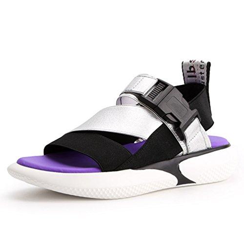 Antidérapantes Talons Sandale Plates Sandales Sport Argent Style de de Plage Ouvertes Mode Femmes xgqg0w1nU