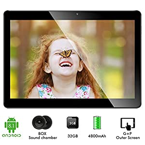 10.1 Inch Tablet Android 8.1, Google Quad Cord Phablet, 32GB ROM 2GB RAM, WIFI, GPS, 2+5MP Cameras, SIM Card Slots, 1280…