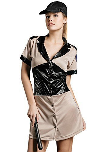 Adult Women Prison Guard Halloween Costume Naughty Sheriff Dress Up & Role Play (Standard+)