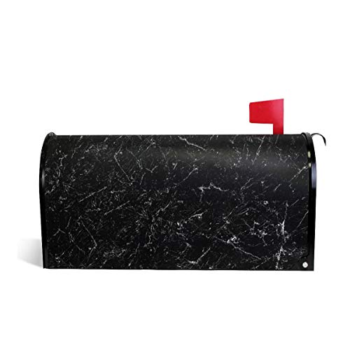 (KIIKISS HUG Balck Marble White Texture Magnetic Mailbox Cover Covers Standard Size 21x18)