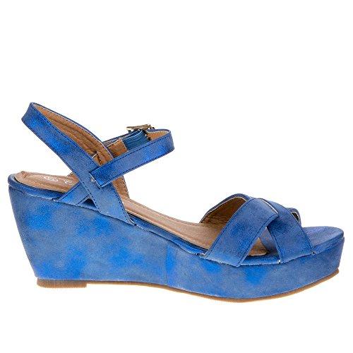 Ital-Design - Sandalias de vestir de Material Sintético para mujer Azul - azul