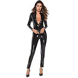 NPRADLA Ladies Sexy Black PVC Spandex Shiny Catsuit Costume Fashion Sexy Women Leather Bodysuit Lace Lingerie Jumpsuit Party Clubwear