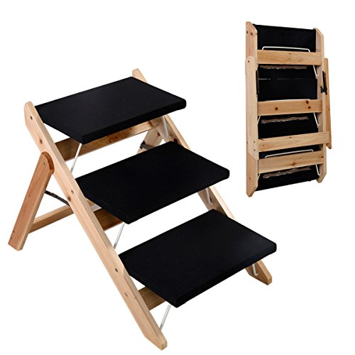 1 Pc Attractive Popular 2in1 Pet Ramp and Stairs Portable Wood Easy Folding Dog Steps Color Black by GVGs Shop