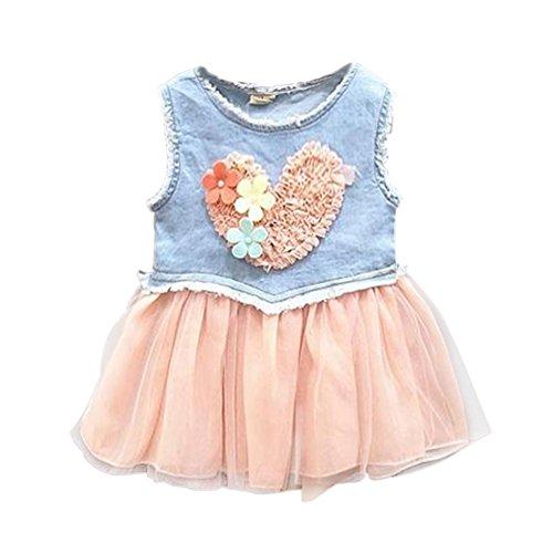 Baby and Toddler Valentine Heart Denim Tutu Dress