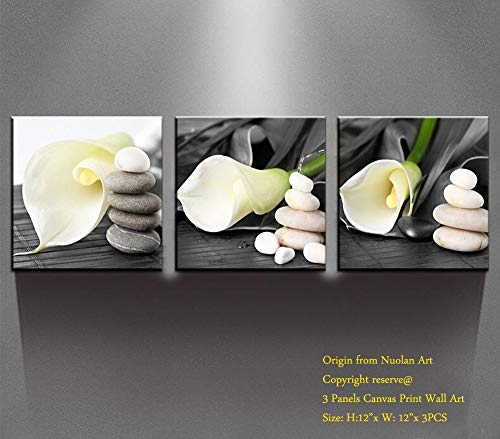 White Lily Follwers Natural Canvas Art Prints Picture Wall