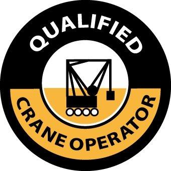 NMC HH58 2'' x 2'' PS Vinyl Hard Hat Emblem w/Legend: ''Qualified Crane Operator'', 12 Packs of 25 pcs
