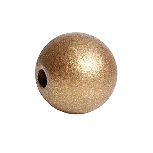 150 Metallic Gold Wood Beads Bulk 15mm Round Wood Bead with 3.6mm Large Hole (Bead Metallic Wood)