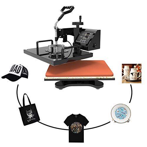 Nurxiovo Heat Press Machine -12x15 Swing-Away Heat Presses Digital Sublimation T-Shirt Transfer Press Plate/Mug/Hat Hot Pressing Machine 5 in 1 Combo - Press Machine Heat