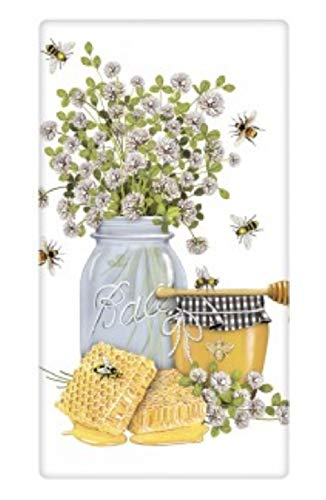 Mary Lake Thompson Flour Sack Towel Honey, Clover in Glass Jar, Honeycomb, Bees