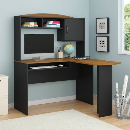Mainstays L-Shaped Desk with Hutch, Multiple Finishes Black & Cherry