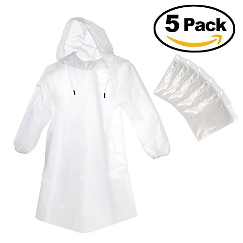 Rain Guard Disposable Emergency Rain Poncho with Hood Clear Transparent Raincoat for Men Women and Kids (One Size Fits All) - Great for Theme/Disney Parks - Camping - Hiking - Sports - 5 Pack