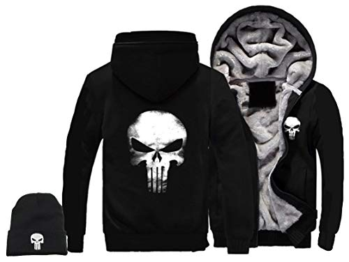 1Bar The Punisher Mens Thicken Hoodie Jacket Fleece Interior Cosplay Costume Top Plus Free Skull Beanie, Black (M)]()