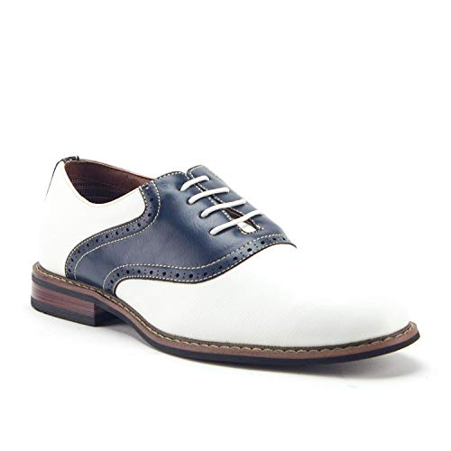Ferro Aldo Men's 19268A Two Tone Saddle Dress Oxfords Shoes, White/Navy, 7.5 ()