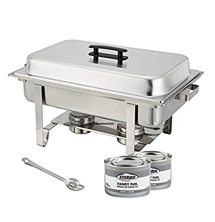 Winware Stainless Steel Full Size Chafer 8 Quart Chafing Dish Set With 2