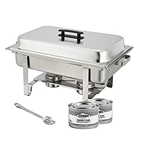 winware stainless steel full size chafer 8 quart chafing dish set with 2 chafing. Black Bedroom Furniture Sets. Home Design Ideas
