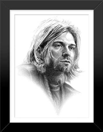 Amazon.com: Kurt Cobain Original Sketch Prints - FRAMED - Black ...