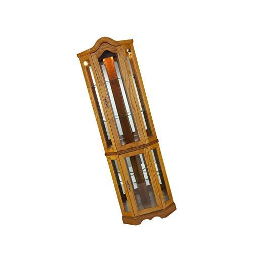 Oak Hutch China (Grateshop1 Wood Golden Oak Finish with Antique Hardware Southern Enterprises Lighted Corner Curio Cabinet CM0695)