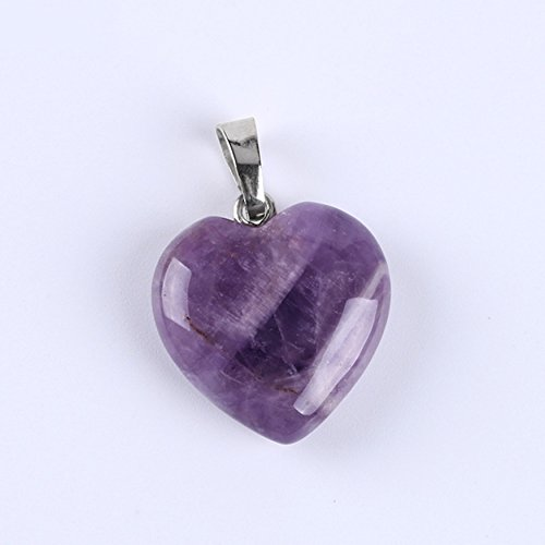 Heart Amethyst Charms (Charm Heart Shaped Pendants Crystal Healing Charkra Beads Quartz Stone Necklace Jewelry Marking DIY (Amethyst))