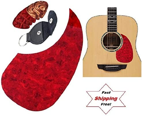 Ships Fast From Magik Fulfillment Red Comma//Tear Drop Shape Acoustic Guitar Pick Guard Scratch Protective Plate Picks Holder Guitar Picks