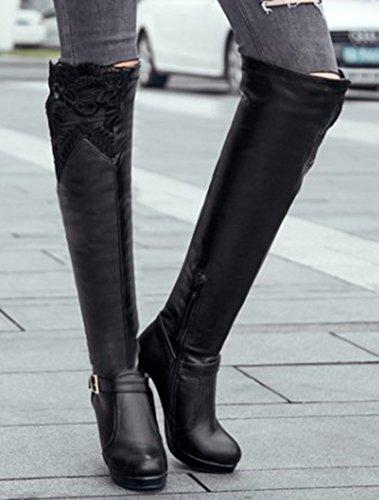 Idifu Mujeres Stylish Lace Empalmado Tacones Altos Chunky Side Zipper Sobre Los Botines De La Rodilla Negro