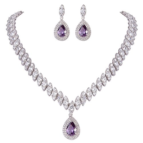 (EVER FAITH Women's CZ Marquise-Shaped Leaf Teardrop Pendant Necklace Earrings Set Purple Silver-Tone)