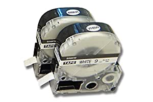 vhbw 2 x Casete de cinta cartucho 9mm para KingJim SR3900C, SR3900P, SR40, SR530, SR530C, SR550, SR6700D, SR750, SR950 por LC-3WBN, SS9KW.